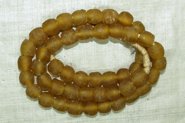 Light Amber Handmade Glass Beads from Ghana