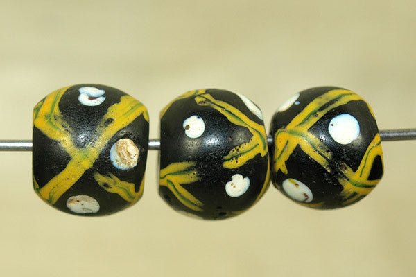 Antique Venetian Black and Yellow Lattice Bead