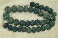Strand of Rare small Mottled dark Teal Majapahit Beads