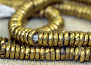 Shiny 4mm Brass Heishi Beads from Kenya
