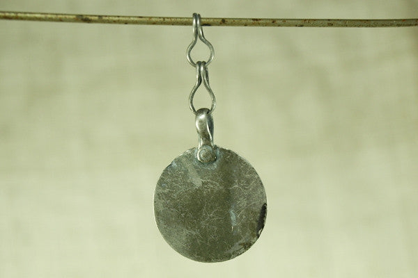 Large Flat Afghan Silver Disc on Short Chain