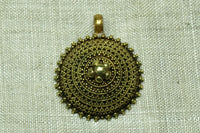 Vintage Granulated Domed Gold Pendant from India