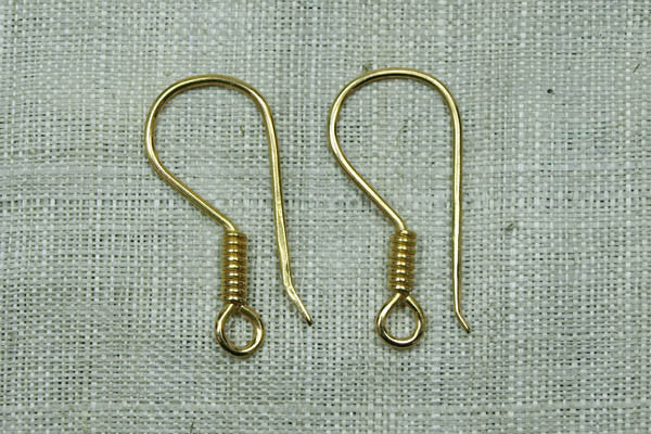 Hand-made Gold Earwire with coil