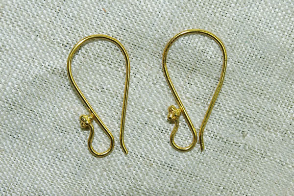 New 18 Karat Gold Ear Wires from India, Pair