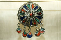Large Enamel Berber Pendant with Dangles