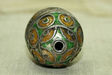 Antique Green and Mustard Enameled Silver Egg Bead