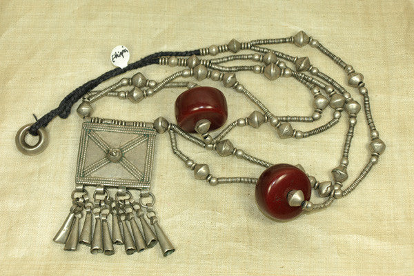 Antique Coin Silver and Amber Ethiopian Necklace