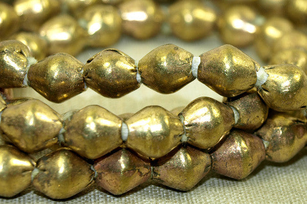 New 7 x 8mm Ethiopian Brass Bicones