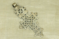 New Large Silver Tone Coptic Cross from Ethiopia