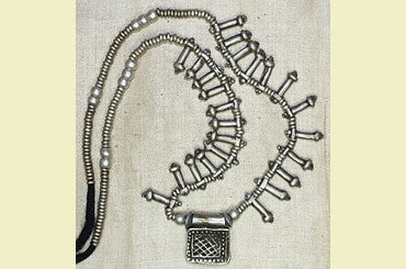 Ethiopian Silver Telsum and Penis Beads Necklace