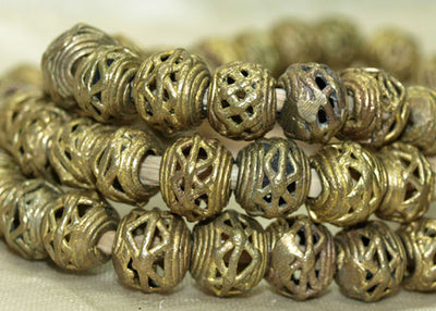 Strand of Small Brass Basket Beads from Ghana