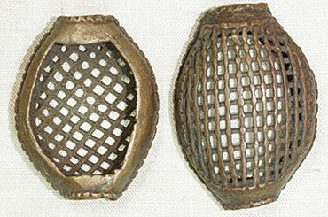 Large Basket-Shaped Brass Bead from Ghana
