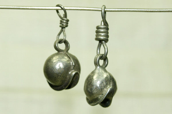 Scallop Shaped Antique Silver Dangle from India
