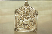 HUGE Antique Silver Pendant of Hindu Goddess Durga