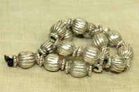Set of small Antique Silver Fluted Beads from India