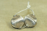 Pair of Antique Silver fluted Beads from India
