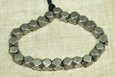 Antique Coin Silver Faceted Beads