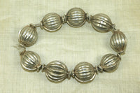 Shiny Antique Silver Fluted Beads from India