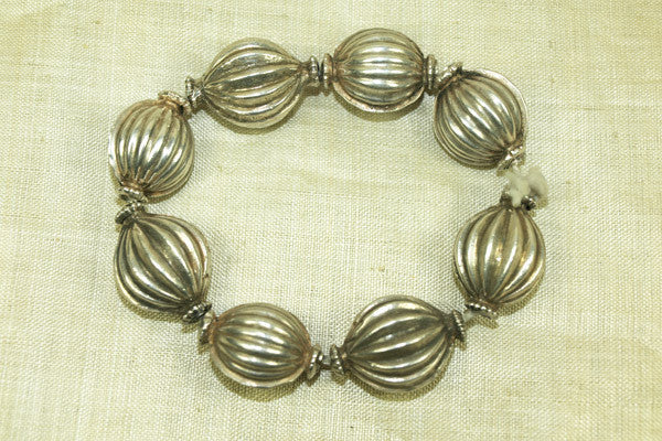 Antique Silver Fluted Beads from India