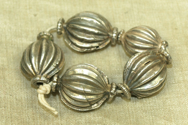Vintage Silver Fluted Beads, Set B