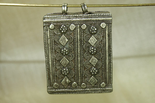 Rectangular Silver Pendant with Loops from Yemen