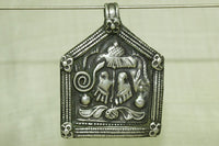 Old Coin Silver Vishnu and Cobra Pendant, India
