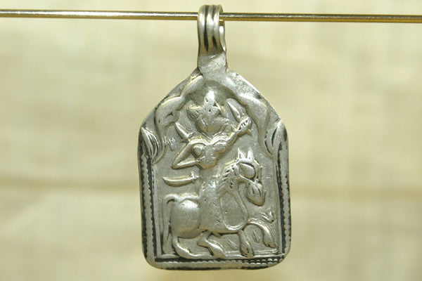 Old Silver Rajasthani Hero Pendant from India