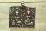 New Indian Silver Ganesha and Parvati Amulet