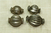 Antique Coin Silver Fluted Beads from India