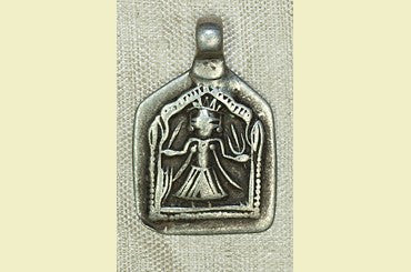 Antique Silver India Amulet with Hindu Goddess