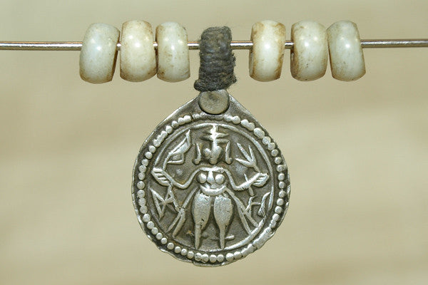 Vintage Silver Amulet, Lord Shiva with old glass beads