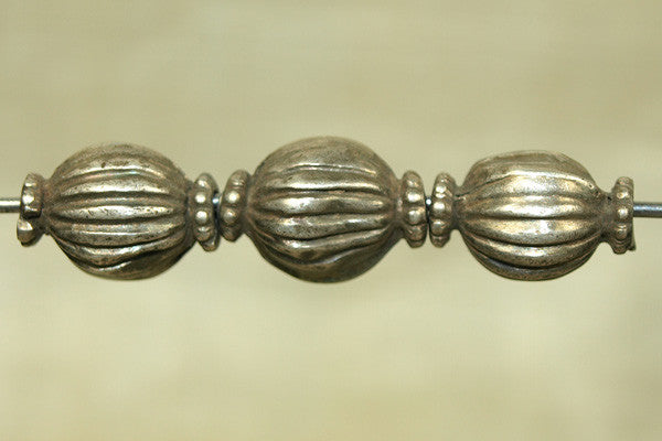 Antique Fluted Silver Bead from India