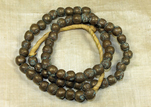 Strand of Antique Solid Brass Rounded Cylinder Beads from Nigeria