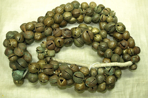 Huge Strand of Antique Bronze and Brass Bells from Nigeria