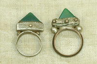 Pair Tuareg Rings with Green Agate Stone