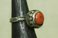 Antique Silver Ring with Coral Setting from Yemen