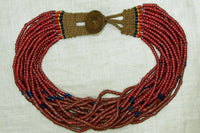 Antique Nagaland Necklace, Old White Heart Glass Beads
