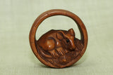 Mouse in a barrel Ojime bead
