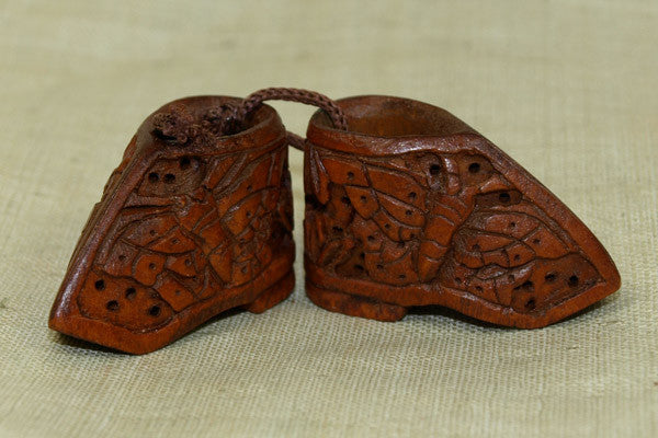 Carved Boxwood Pair of Shoes