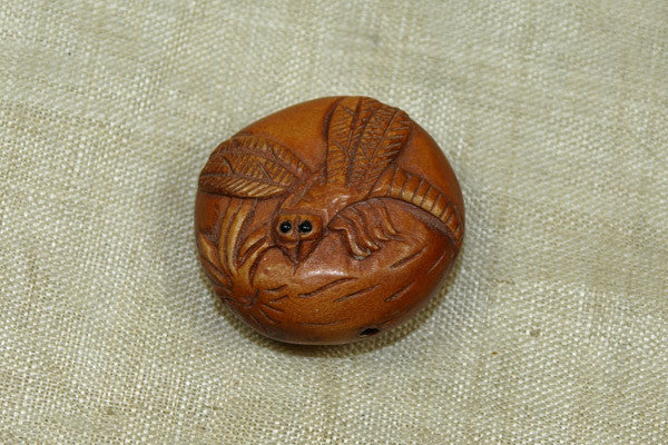 Carved Boxwood Dragonfly Ojime