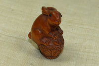 Carved Boxwood Rabbit with Basket