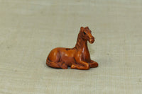 Carved Boxwood Seated Horse