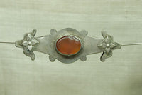 Antique Turkman Silver Bead with Carnelian
