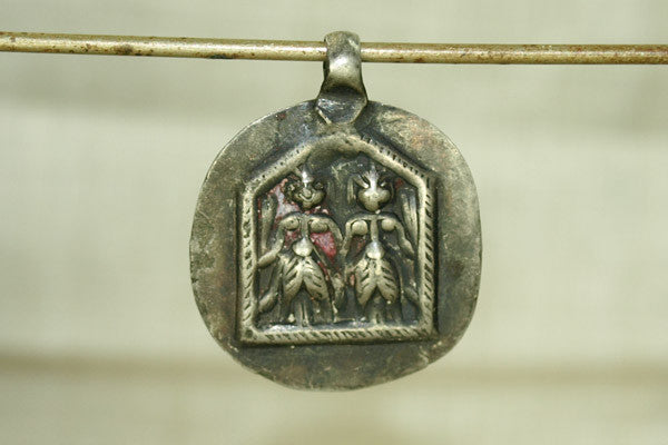 Silver Twin Gods Amulet from India