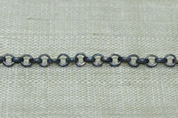 Small Rolo-Style Oxidized Silver Chain
