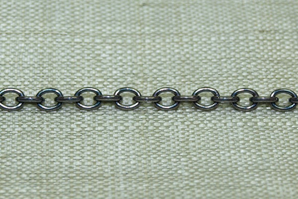 Fine Cable Chain, Oxidized Sterling