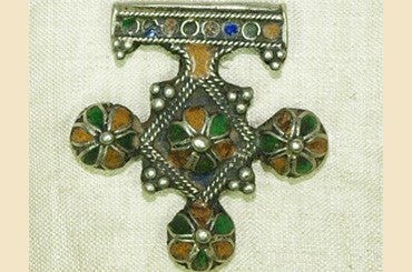 Silver and Enameled Berber Cross Pendant