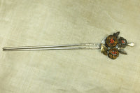 Antique Silver Chinese Hairpin With Coral