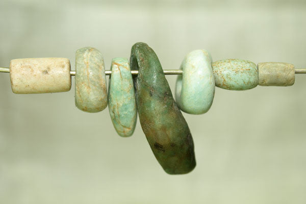 Set of seven Ancient Amazonite Beads
