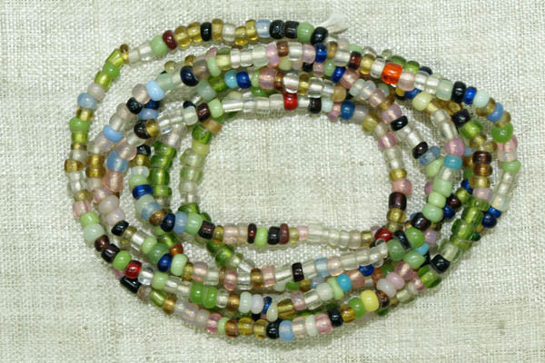 Transparent Vaseline Mixed Seed Bead Strand, 11-9º